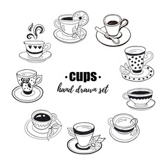 Hand drawn teacups collection. Doodle tea cups and coffee cups isolated on white background. Vector illustrations for cafe and restaurant menu design.