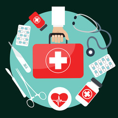 Flat Design Vector Illustration Concepts of Health care and Medicine. Pharmacy, Drugs and Pills. Medical equipment, stethoscope