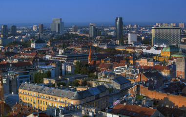 Part of Zagreb roofs in sunrise