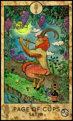 Satyr. Minor Arcana Tarot Card. Page of Cups. Fantasy graphic illustration