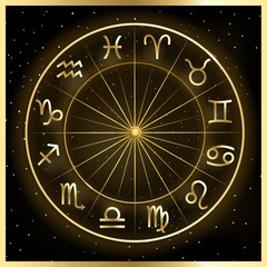 Vector illustration of zodiac circle on cosmic background with stars.
