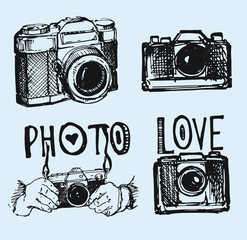 Vector retro hand drawing photo camera isolated. Vector illustration camera.