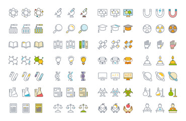 Set Vector Flat Line Icons Physic