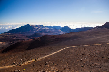 Volcanic crater at Haleakala National Park on the island of Maui, Hawaii.