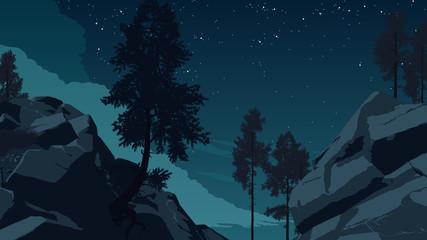 mountain forest landscape illustration