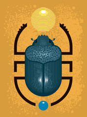 Beetle Scarab - a symbol of ancient Egypt, geometric style