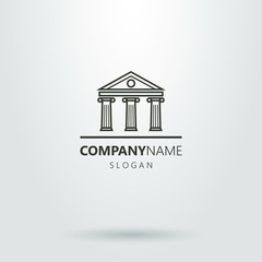Black and white antique building logo