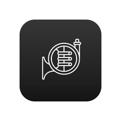 French horn vector icon