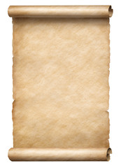Old paper vertical scroll or parchnment isolated 3d illustration
