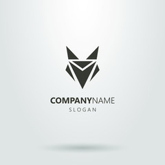 Black and white logo of an abstract fox head