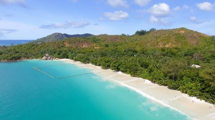 Aerial view of Anse Lazio beach in Praslin, Seychelles Islands