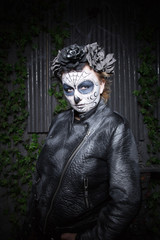 beautiful gothic woman with scary halloween make up