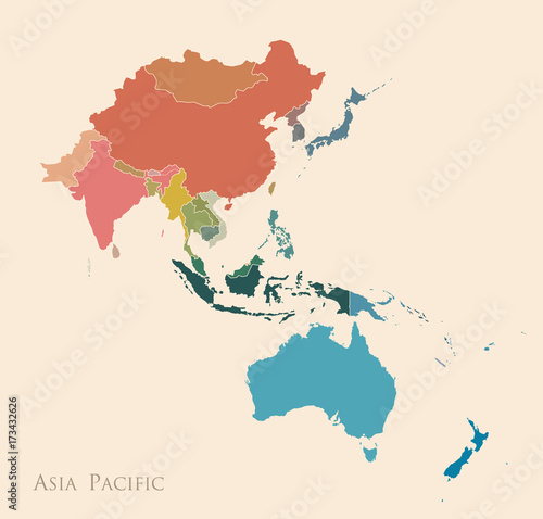 Map Of Asia And Pacific.Map Of Asia Pacific Stock Image And Royalty Free Vector Files On