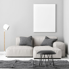 Mock up poster with comfortable sofa, 3d illustration