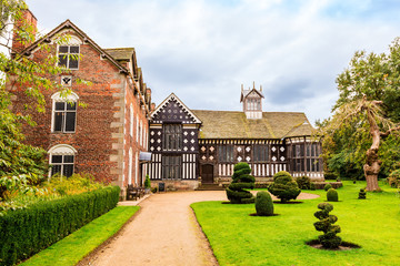 Historic Elizabethan mansion of Rufford Old Hall and garden.