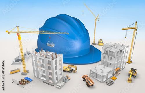 maquette chantier b timent immeubles et casque de chantier zdj stockowych i obraz w. Black Bedroom Furniture Sets. Home Design Ideas