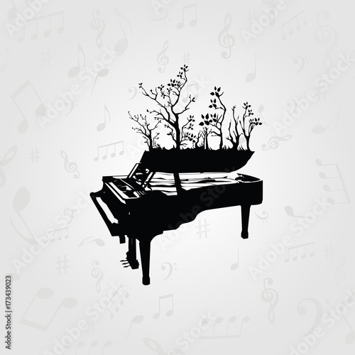 Music black and white design with piano  Music instrument
