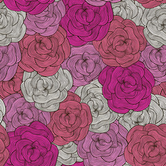 Seamless pattern of pink roses in the style of doodle