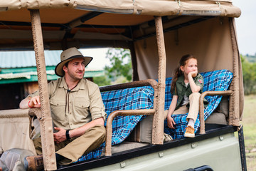 Family on game drive