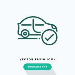 Car service checkmark icon, car maintance station symbol. Modern, simple flat vector illustration for web site or mobile app