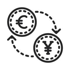 Euro yuan vector icon