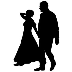 Silhouette of a young guy and a girl in a long dress holding hands