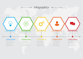 Infographics  5 hexagonal elements Infographic design vector Business concept steps or processes can be used for workflow layout, diagram, annual report, web design