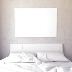 Mock up poster in bedroom interior. Bedroom hipster style. 3d illustration