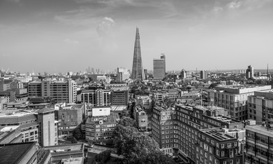 Wide angle aerial view over London
