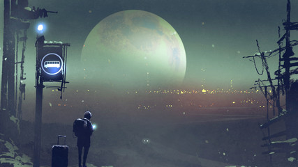 night scenery of the boy at the bus stop waiting, digital art style, illustration painting