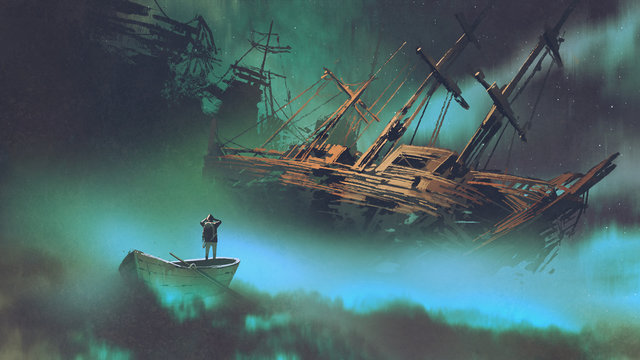 surreal scenery of the man on a boat in the outer space with clouds looking at derelict ship, digital art style, illustration painting
