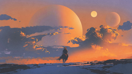 cowboy riding a horse against sunset sky with planets background, digital art style, illustration painting Wall mural