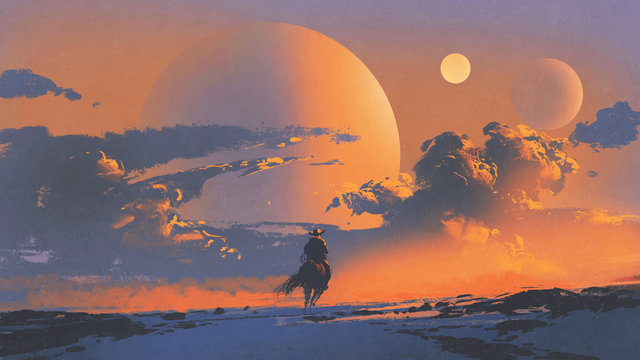 cowboy riding a horse against sunset sky with planets background, digital art style, illustration painting