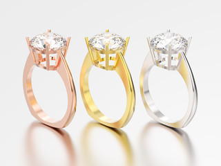 3D illustration three yellow, rose and white gold engagement euro style ring with diamond with reflection and shadow
