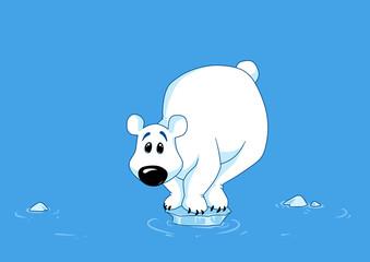 Polar bear ice melting north pole animal cartoon funny poster illustration