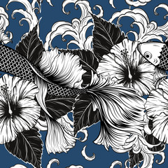 Koi fish and Hibiscus flower pattern by hand drawing.Tattoo art highly detailed in line art style.Flower patterns for batik paint.