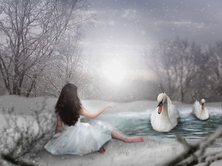 Woman by lake with swans
