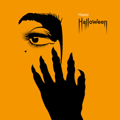 Happy Halloween card. Scary hand with sharp nails and woman's eye on orange Halloween background. Vector Illustration