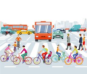 Stadt mit Radfahrer und Straßenverkehr, illustration