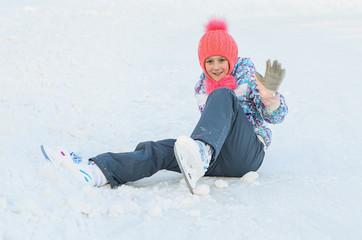 happy girl ice skating