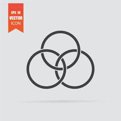 Circles icon in flat style isolated on grey background.