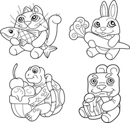 cartoon cute animals set of images