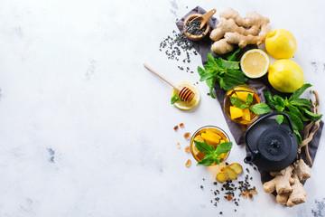 Japanese chinese tea teapot lemon ginger mint