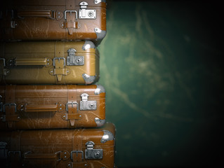 Vintage suitcases on the grunge background. Turism travel concept.
