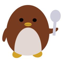 スプーンを持ったペンギン