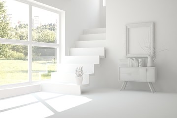 Idea of white empty room with stair. Scandinavian interior design. 3D illustration