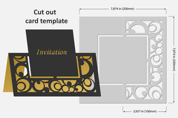 Template cards to cut. Topper. Use for congratulations, invitations, presentations, weddings. Vector illustration.