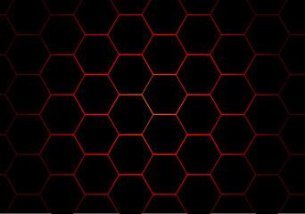 Abstract black hexagon red line pattern design modern futuristic background vector illustration.