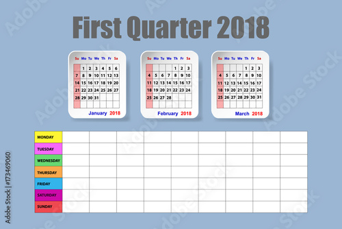"""""""Calendar for first quarter of 2018 with weekly schedule ..."""