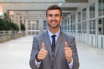 Businessman expressing consent close up